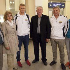 Anykštėnai pasitiko medalius iškovojusį plaukiką G.Titenį (FOTO)