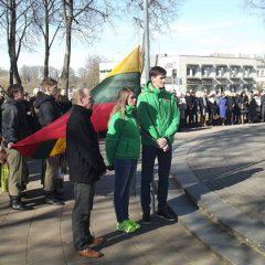 Kovo 11-ąją valstybės vėliavą kėlė Anykščių KKSC sportininkai